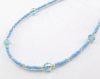 blue necklace, light blue necklace, pastel necklace, delicate necklace, cornflower blue, pale blue necklace, summer necklace