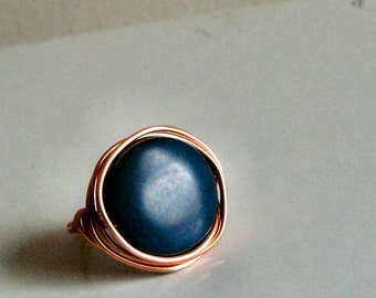 Blue Bead Ring - Blueberry Dyed Tagua Nut Bead - Wire-Wrapped with Bright Copper Wire - Custom Made in Your Size - Handmade to Order