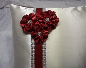 Wedding Kneeling Pillow Cover, Ivory Satin Kneeling pillow cover  Embellished with Flowers in Apple Red and Rhinestone Mesh Trim