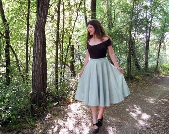 full circle skirt swing skirt linen hand dyed natural sea foam green S/M