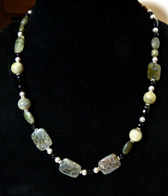LABRADORITE, ONYX, Pearl and Glass Bead Necklace, OOAK Necklace With Sterling Silver Spacers, & Clasp, 28 Inches Long With 2 Inch Extender