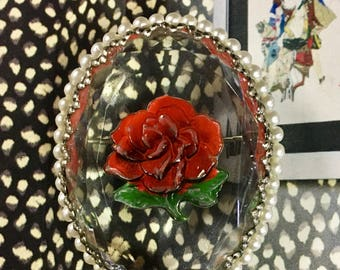 Reverse painted intaglio lucite rose brooch