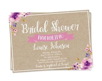 Purple Bridal Shower Invitation, Floral Bridal Shower Invite, Bridal Brunch Invitation, Shower Invite, Kraft Paper Invitation