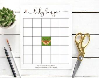 Woodland Baby Shower Bingo, Deer Baby Shower Bingo, Baby Shower Bingo PDF, Baby Shower Bingo Cards, Shower Bingo Printable, Baby Shower Game