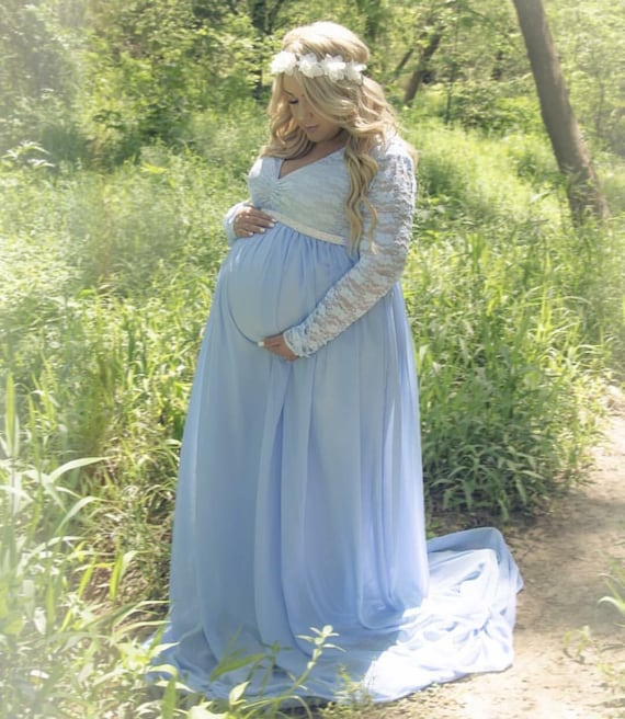 Light Blue Maternity Dress