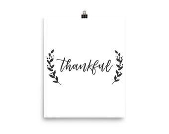 Thankful Poster, Gratitude Print, Thankful Print, Thankful Wall Art, Thanksgiving Wall Art