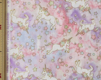 Kokka Unicorn Design Japanese Fabric / Double Gauze Pink - 110cm x 50cm