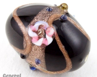 18mm Black/Bronze Lampwork Oval Bead (2 pcs) #4673