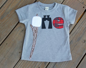 Camping First Birthday Shirt, Marshmallow First Birthday Shirt, Binocular, Adventure Birthday Shirt, Shirt, S'mores Birthday Party Shirt