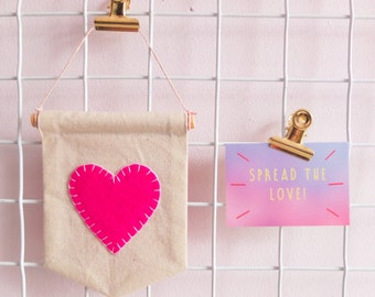 Heart Banner, Love Pennant, Flag, Hanging Fabric Banner, Wall Hanging, Wall Art, Felt Heart Banner, Pennant, Pink ,Simple, Bold, Bright