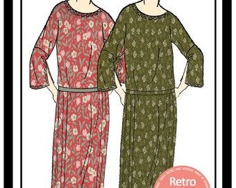 1920s Kimono Sleeve Flapper Dress Sewing Pattern - PDF Full Size Sewing Pattern - Instant Download