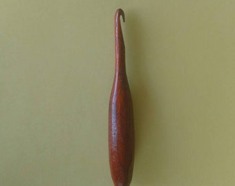 Wooden Crochet Hook - Size L, 8mm - Hand Turned Out of Exotic Padauk - Ergonomically Designed - Lightweight and Comfortable