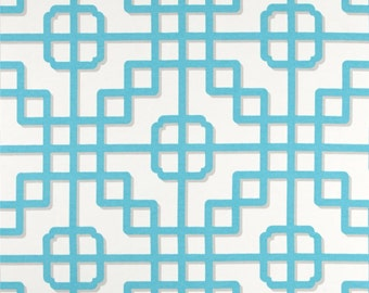 "Two 96"" x 50""  Custom  Curtain Panels   - Indoor/Outdoor Panels Geometric - Turquoise/Blue/Grey"