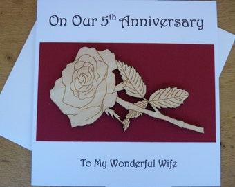 5th wedding anniversary card - 5th anniversary card - card for wife - five years - wood  anniversary - Rose - gift