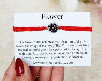 Flower bracelet Flower charm Rose bracelet Red bracelet Flower jewelry kids bracelet elastic bracelet stretch bracelet Floral bracelet