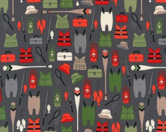 Adventure Brawny Bears Fishing Equipment by Andie Hanna for Robert Kaufman quilting cotton green fabric material by the yard or metre
