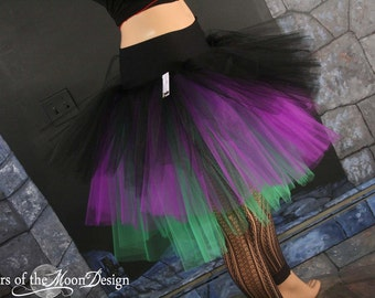 Witchy Tulle skirt Three Layer Petticoat tutu black purple green Adult gothic goth dance costume -- You Choose Size -- Sisters of the Moon