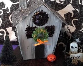 Halloween Putz House, Decorate, decor, handmade