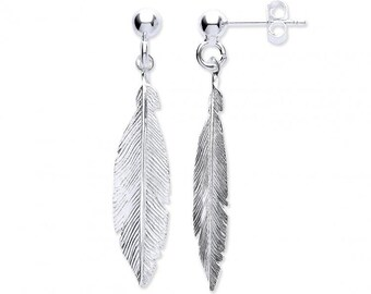 Pair of 925 Sterling Silver 3.5cm Feather Drop Earrings