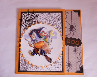 "201785 card Halloween ""witch on broom"""