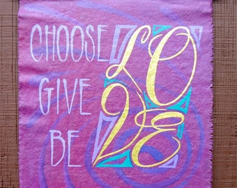 LOVE canvas wall hanging, painted, words, inspire, Made To Order