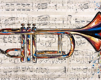 Hand-painted Mixed Media Print of Trumpet over Chopin Sheet Music