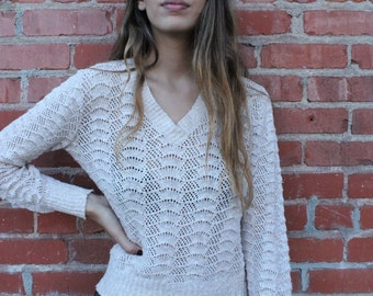 Trendy Women's Crochet Sweater, retro clothing, vintage womens clothing, vintage attire, vintage wear, boho clothing, affordable clothing