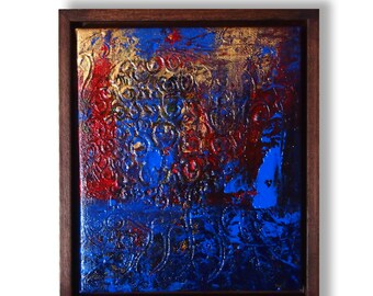 Confused II Original Abstract Texture Painting by ChingTeoh with Raw Wood Frame | Bohemian Decor | Blue and Gold | Framed Texture Painting