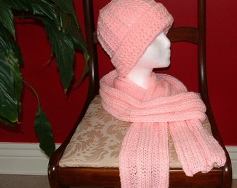 Pink Hat and Scarf Set