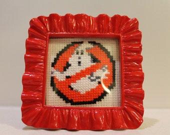 Mini Framed Ghost Busters Logo Cross Stitch