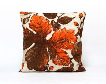 Modern Retro Cushion Cover, Throw Pillow, Orange Pillow Case, Botanical Pillow, Designer Pillow, Handmade Modern Home decor by EllaOsix