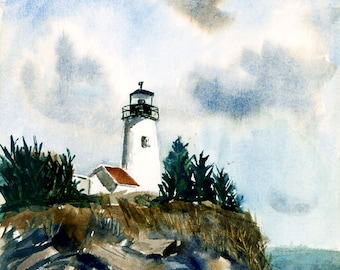 Lighthouse, Print from Watercolor by E.S. Beal, Maine, Rocks, Coast, Fine Art, Wall Art