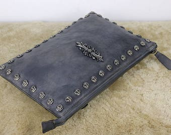 Leather Clutch,Leather Zipper Clutch, Evening Clutch, Leather Clutch Bag,  Leather Wristlet Handbag, Shoulder Bag, Crossbody Bag