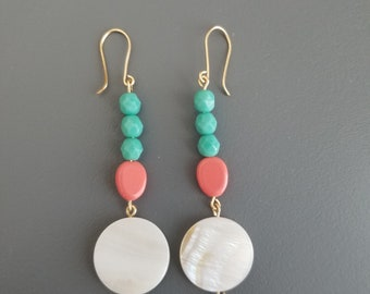 Teal & Coral Beaded Dangle Earrings with Shell