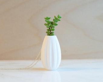 Wide Vase Wearable Planter Pendant Necklace