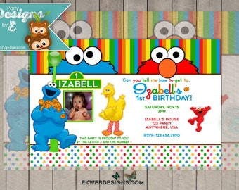 Sesame Street Birthday Invitation - Elmo Cookie Monster Birthday Invitation - Sesame Street Birthday invitation with or without photo