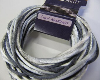 Kumihimo Rattail, Color Mix, 1mm, Cool Neutrals, 12 Yards, 18 Inch Braid, Perfect Color Match, Made In USA, Japanese Braiding, Knot Cording