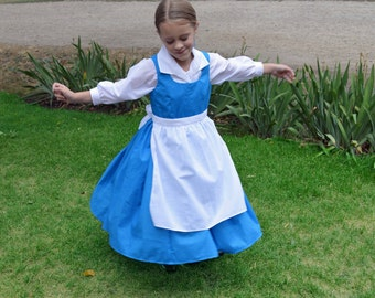 Adult Belle Blue Village Peasant Provincial Life Costume Dress, Beauty and the Beast