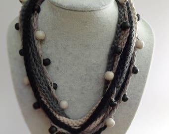 Crochet Multi Stranded Beaded Necklace