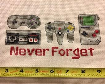 Finished Nintendo Cross Stitch