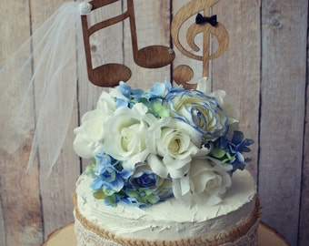 Music lover wedding cake topper-music notes-musician-wedding cake topper-music lover-instruments-bride and groom-custom-music notes