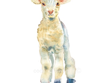 Childrens Art, Nursery Art, Kids Art, Animal Painting, Watercolor Painting, Nursery Art Print-  Lamb