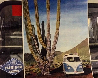 13X17.5 print of Acrylic on Canvas Painting by my Wife Stacey of our 1965 VW Bus in Baja California.  Volkswagen Van Art.