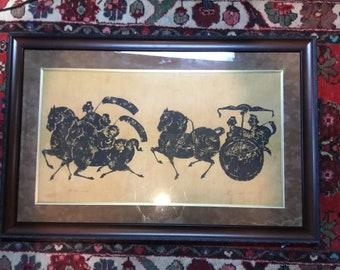 Original block print on silk