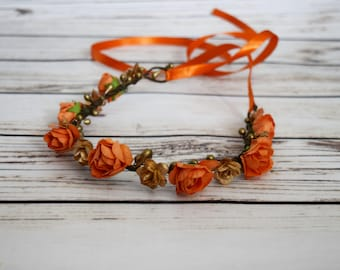 Handcrafted Orange and Gold Flower Crown - Fall Wedding Accessory - Hair Wreath - Adult Flower Crown - Small Rose Accessory - Flower Girl