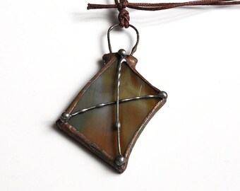 Stained Glass Jewelry, Brown Glass Necklace, Casual Necklace, Statement Necklace, Stained Glass Pendant