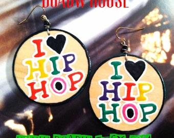 I love Hip Hop Earrings Handmade (Hand Painted Earrings) Statement  Earrings