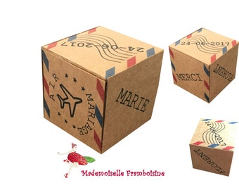 Box dragees, travel theme wedding, kraft, customizable