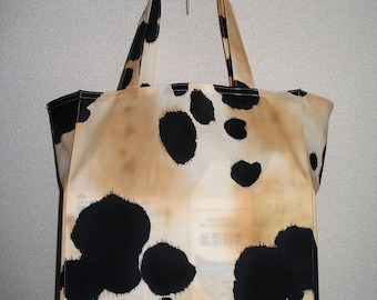 Horsehide Tote Bag, Old Paint Appaloosa Horsehide Design TIGHT 'N' TIDY Tote Bag, Reusable Folding Shopping Bag, Black White Cream Beige