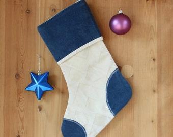 Christmas stocking White Christmas sock blue White Xmas stocking Blue white velvet stocking Winter home decor Christmas fireplace decor